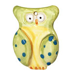 Jangles Ceramic Lime Owl Pendant 35x45mm