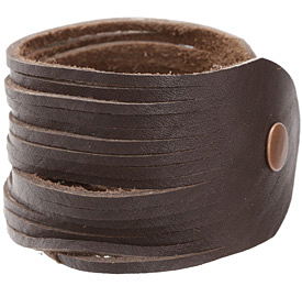 "The Lipstick Ranch Dark Chocolate Shredded Leather Cuff Bracelet 2""x 9 3/4"""