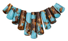 Synthetic Turquoise & Bronzite Bib Pendant Set Graduated 10x16-38mm