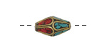 Tibetan Brass Rice Bead w/ Turquoise & Coral Mosaic Petals 17-20x8-10mm