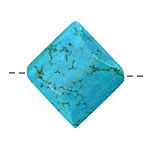 Howlite Turquoise Faceted Diamond 31x35mm
