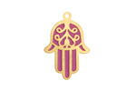 Orchid Enamel Gold (plated) Stainless Steel Hamsa Focal 17x25mm