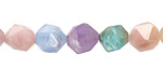 Multi Gemstone (Aquamarine, Amethyst, Amazonite, Morganite, Moonstone) Star Cut Round 10mm