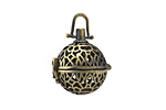Antique Brass (plated) Lotus Filigree Diffuser Locket 15x25mm