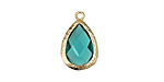 Sea Green Crystal in Gold (plated) Textured Bezel Teardrop 12x18mm