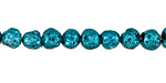 Metallic Teal (plated) Lava Rock Round 6mm