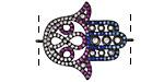 Jewel Tone Mix Pave CZ Gunmetal (plated) Hamsa Focal Link 30x24mm