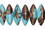 Synthetic Turquoise & Bronzite 2-Hole Spear 10x28mm