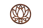 Walnut Wood Openwork Lotus Coin Focal 25mm