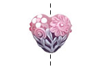 Grace Lampwork Light Pink Flower w/ Purple Heart 19-20mm