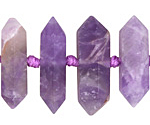 Amethyst (matte) Center-Drilled Points Graduated 7-10x19-45mm
