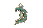 Patina Green Brass (plated) Crescent Moon Burning 15x27mm