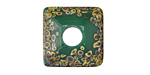 A Beaded Gift Dusted Jade Raku Large Glass Square Rondelle (large hole) 20-21mm