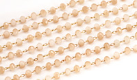 Latte Crystal 3mm Delicate Brass Bead Chain
