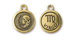 TierraCast Antique Gold (plated) Round Virgo Charm 15x18mm