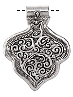 Zola Elements Antique Silver (plated) Decorative Lotus Flower Pendant 46x60mm