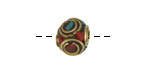 Tibetan Brass Cube Bead w/ Concentric Circles In Coral, Turquoise & Lapis Mosaic 11-12mm