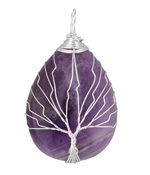 Amethyst Silver Finish Wire-Wrapped Tree of Life Teardrop Pendant 30x50mm