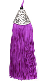 Radiant Orchid Thread Tassel w/ Antique Silver (plated) Broad Tassel Cap 20x75mm