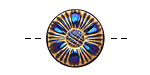 Czech Glass Cobalt & Gold Sunflower Button 18mm