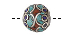 Tibetan White Brass w/ Turquoise, Lapis & Coral Mosaic Rondelle 18x20mm