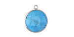 Turquoise Coin Drop in Sterling Silver 16-17x20mm