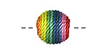 Rainbow Thread Wrapped Bead 14mm