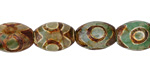 Tibetan (Dzi) Agate (green & brown) Rice 14x10mm