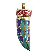 Tibetan Turquoise Horn with Lapis Teardrops 15x47-53mm