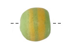 African Powder Glass Key Lime w/ Yellow Bands Large Round Bead 22-23mm