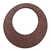 Lillypilly Burgundy Flower Embossed Leather Large Open Round 50mm