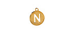 """Gold (plated) Stainless Steel Initial Coin Charm """"N"""" 10x12mm"""