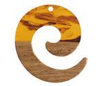 Walnut Wood & Tortoise Shell Swirl Resin Koru Focal 36x37mm