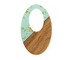 Walnut Wood & Beach Glass w/ Gold Foil Resin Oval Off-Center Hoop Focal 22x35mm
