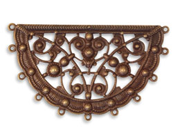 Vintaj Natural Brass Fanned Boho Filigree 61x36mm