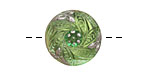 Czech Glass Peridot w/ Metallic Silver Bay Leaf Wreath Button 18mm