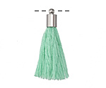 Sweet Mint Thread Tassel w/ Silver (plated) Tassel Cap 30mm