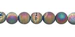 Matte Metallic Rainbow Agate w/ Druzy (plated) Round 8mm