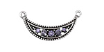 Antique Silver (plated) Tanzanite Crystals Crescent Focal 30x15mm