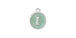 "Sweet Mint Enamel Silver Finish Initial Coin Charm ""I"" 12x14mm"