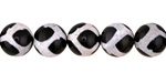 Tibetan (Dzi) Agate Black & White Patterned Round 10mm