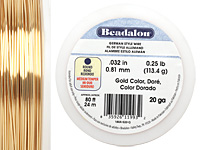 German Style Wire Gold Color Round 20 gauge, 24m