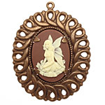Vintaj Natural Brass Natural Brass Enchanted Whisper Fairy Pendant 38x48mm