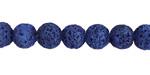 Cobalt Blue Lava Rock Unwaxed Round 8mm