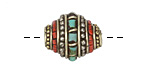 Tibetan Brass & White Brass w/ Turquoise & Coral Rice Bead 19x16mm