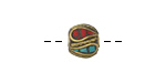 Tibetan Brass Bead w/ Turquoise & Coral Mosaic Plumes 9-12x9-12mm