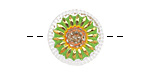 Czech Glass Retro Green w/ Gold Daisy Button 18mm