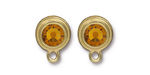 TierraCast Gold (plated) Stepped Bezel Ear Post w/ Topaz Crystal 12x17mm