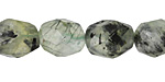 Green Tourmalinated Quartz Faceted Nugget 14-17x10-12mm
