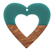 Walnut Wood & Teal Resin Open Heart Focal 50mm